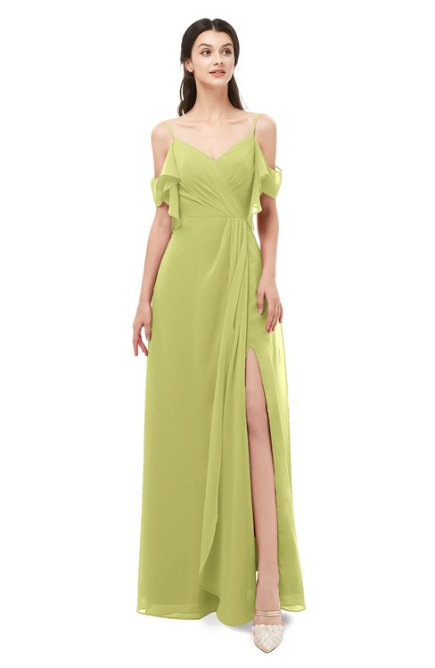 ColsBM Blair Pistachio Bridesmaid Dresses Spaghetti Zipper Simple A-line Ruching Short Sleeve