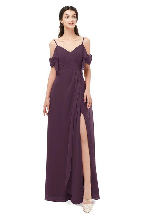 ColsBM Blair Plum Bridesmaid Dresses Spaghetti Zipper Simple A-line Ruching Short Sleeve