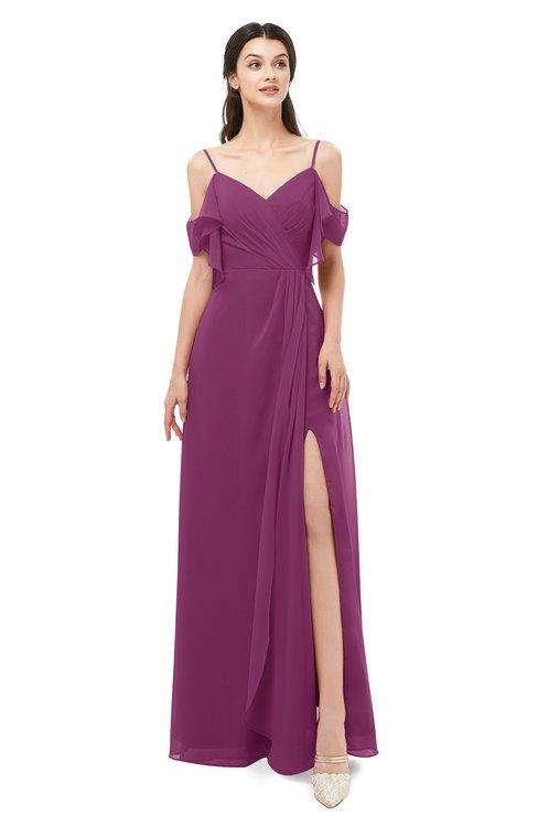 ColsBM Blair Raspberry Bridesmaid Dresses Spaghetti Zipper Simple A-line Ruching Short Sleeve