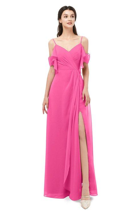 ColsBM Blair Rose Pink Bridesmaid Dresses Spaghetti Zipper Simple A-line Ruching Short Sleeve