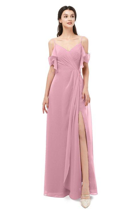 ColsBM Blair Rosebloom Bridesmaid Dresses Spaghetti Zipper Simple A-line Ruching Short Sleeve