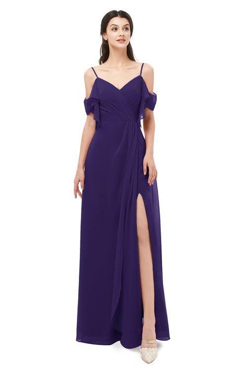 ColsBM Blair Royal Purple Bridesmaid Dresses Spaghetti Zipper Simple A-line Ruching Short Sleeve