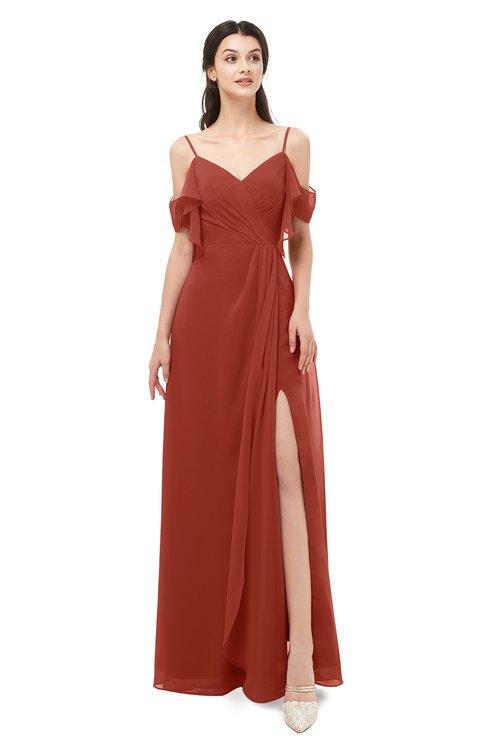 f3d35627c99ad ColsBM Blair Rust Bridesmaid Dresses Spaghetti Zipper Simple A-line Ruching Short  Sleeve