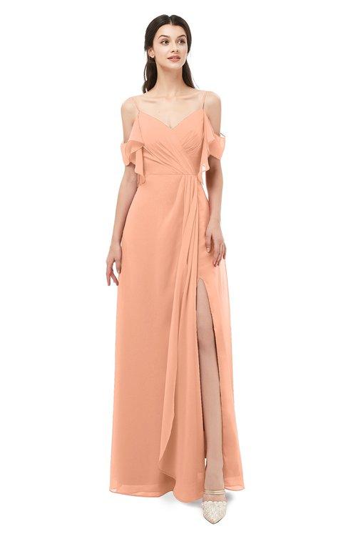 ColsBM Blair Salmon Bridesmaid Dresses Spaghetti Zipper Simple A-line Ruching Short Sleeve