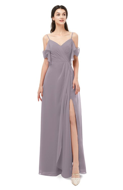 ColsBM Blair Sea Fog Bridesmaid Dresses Spaghetti Zipper Simple A-line Ruching Short Sleeve