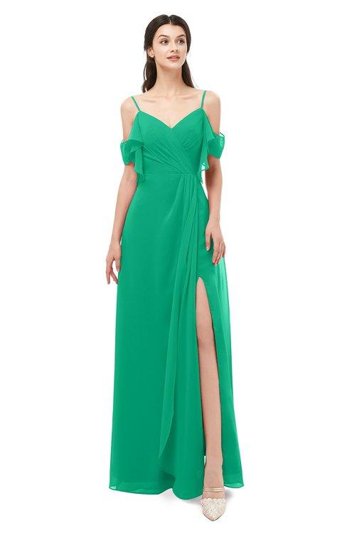 ColsBM Blair Sea Green Bridesmaid Dresses Spaghetti Zipper Simple A-line Ruching Short Sleeve