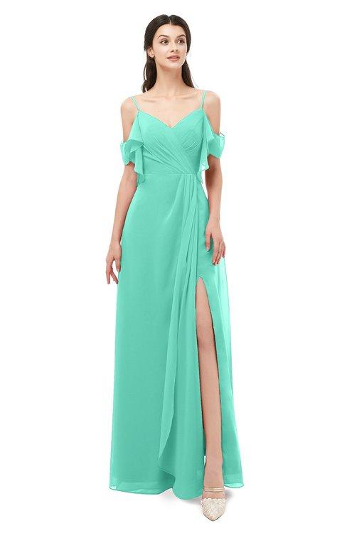 ColsBM Blair Seafoam Green Bridesmaid Dresses Spaghetti Zipper Simple A-line Ruching Short Sleeve
