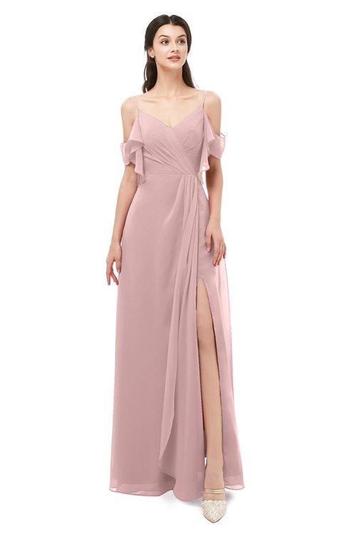 ColsBM Blair Silver Pink Bridesmaid Dresses Spaghetti Zipper Simple A-line Ruching Short Sleeve