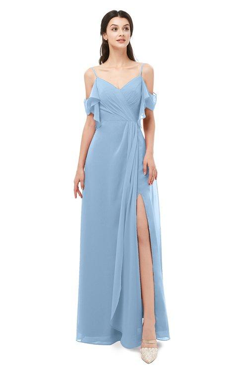 ColsBM Blair Sky Blue Bridesmaid Dresses Spaghetti Zipper Simple A-line Ruching Short Sleeve
