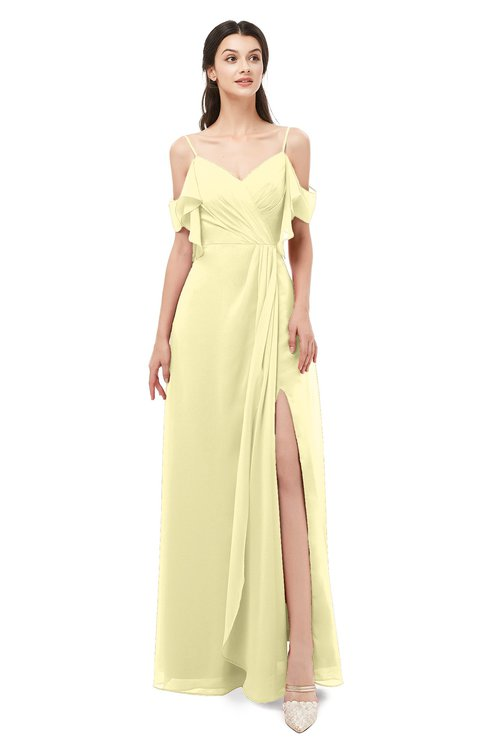ColsBM Blair Soft Yellow Bridesmaid Dresses Spaghetti Zipper Simple A-line Ruching Short Sleeve