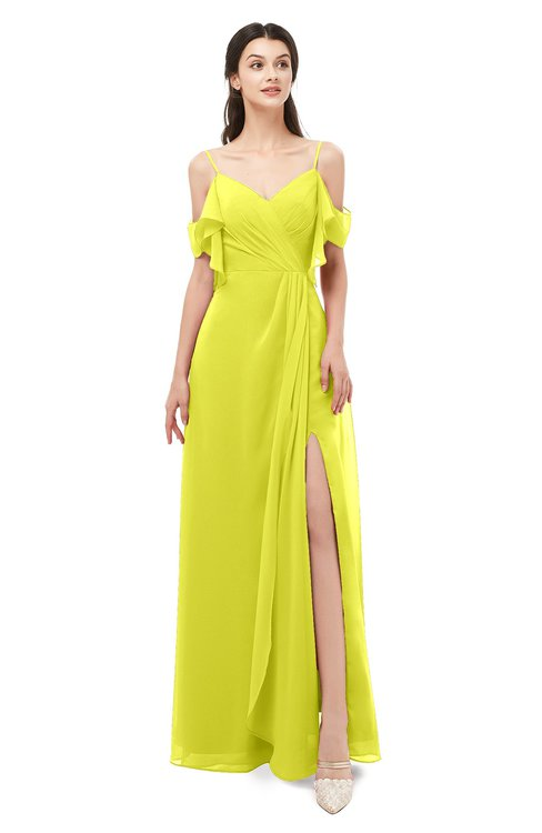 ColsBM Blair Sulphur Spring Bridesmaid Dresses Spaghetti Zipper Simple A-line Ruching Short Sleeve