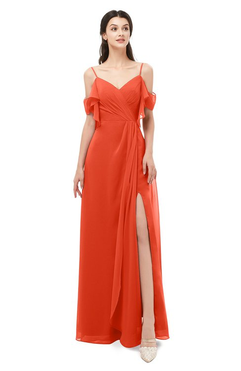 ColsBM Blair Tangerine Tango Bridesmaid Dresses Spaghetti Zipper Simple A-line Ruching Short Sleeve