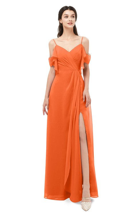 ColsBM Blair Tangerine Bridesmaid Dresses Spaghetti Zipper Simple A-line Ruching Short Sleeve