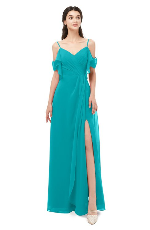 ColsBM Blair Teal Bridesmaid Dresses Spaghetti Zipper Simple A-line Ruching Short Sleeve
