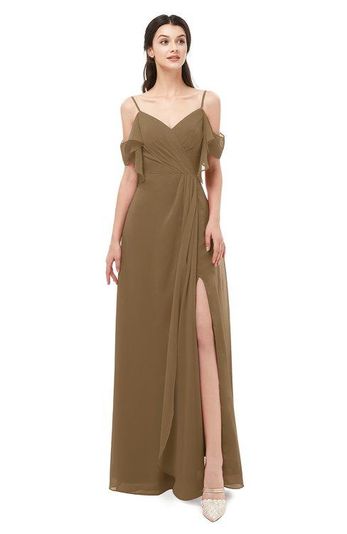 ColsBM Blair Truffle Bridesmaid Dresses Spaghetti Zipper Simple A-line Ruching Short Sleeve