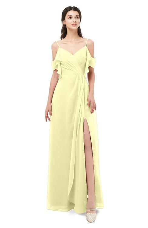 ColsBM Blair Wax Yellow Bridesmaid Dresses Spaghetti Zipper Simple A-line Ruching Short Sleeve