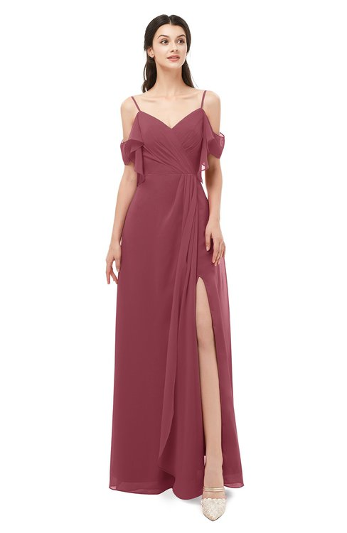 ColsBM Blair Wine Bridesmaid Dresses Spaghetti Zipper Simple A-line Ruching Short Sleeve