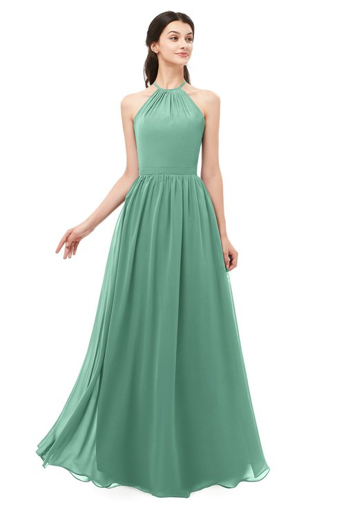 ColsBM Irene Beryl Green Bridesmaid Dresses Sleeveless Halter Criss-cross Straps Sexy A-line Sash