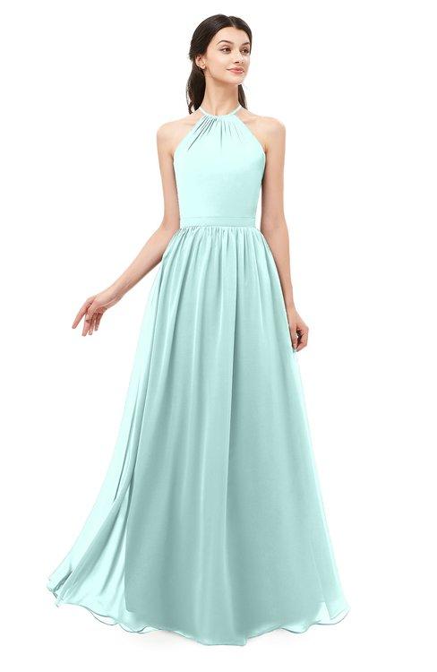 ColsBM Irene Blue Glass Bridesmaid Dresses Sleeveless Halter Criss-cross Straps Sexy A-line Sash