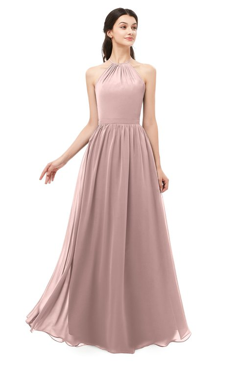 ColsBM Irene Blush Pink Bridesmaid Dresses Sleeveless Halter Criss-cross Straps Sexy A-line Sash