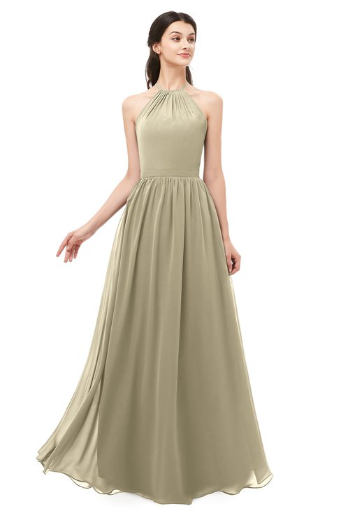 ColsBM Irene Candied Ginger Bridesmaid Dresses Sleeveless Halter Criss-cross Straps Sexy A-line Sash