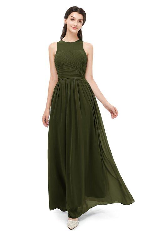 ColsBM Astrid Beech Bridesmaid Dresses A-line Ruching Sheer Floor Length Zipper Mature