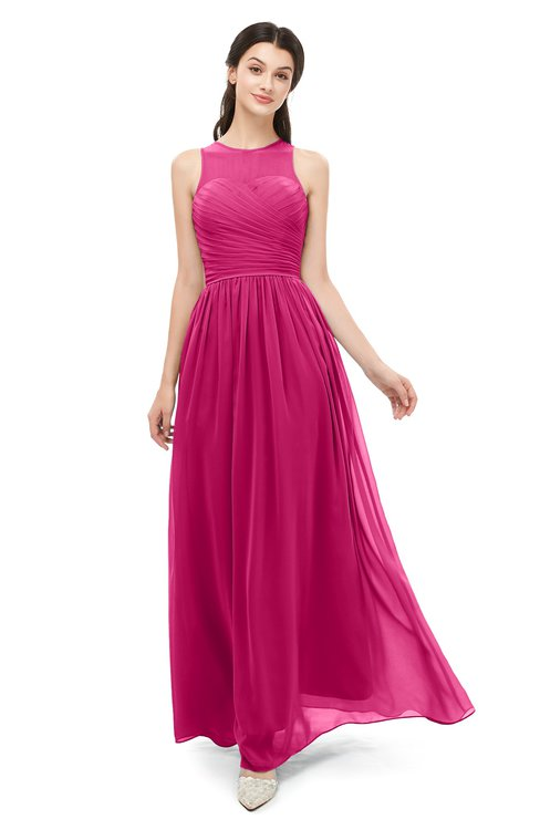ColsBM Astrid Beetroot Purple Bridesmaid Dresses A-line Ruching Sheer Floor Length Zipper Mature