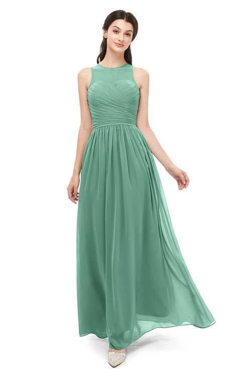 ColsBM Astrid Beryl Green Bridesmaid Dresses A-line Ruching Sheer Floor Length Zipper Mature