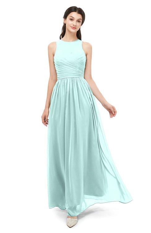 ColsBM Astrid Blue Glass Bridesmaid Dresses A-line Ruching Sheer Floor Length Zipper Mature