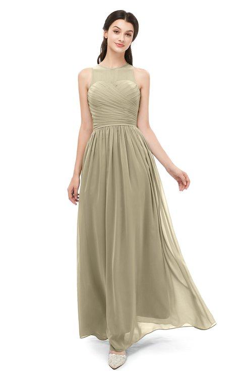 ColsBM Astrid Candied Ginger Bridesmaid Dresses A-line Ruching Sheer Floor Length Zipper Mature