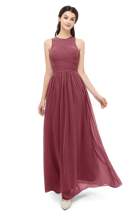 ColsBM Astrid Wine Bridesmaid Dresses A-line Ruching Sheer Floor Length Zipper Mature