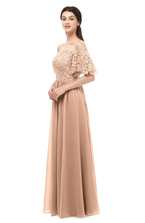 ColsBM Ingrid Almost Apricot Bridesmaid Dresses Half Backless Glamorous A-line Strapless Short Sleeve Pleated