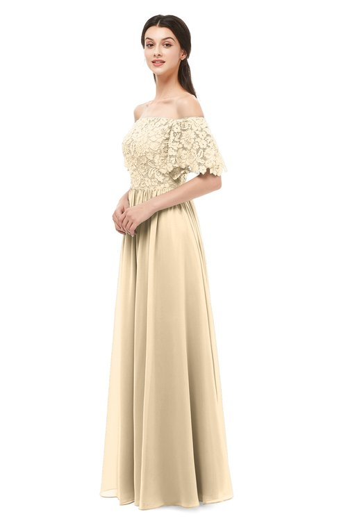 ColsBM Ingrid Apricot Gelato Bridesmaid Dresses Half Backless Glamorous A-line Strapless Short Sleeve Pleated