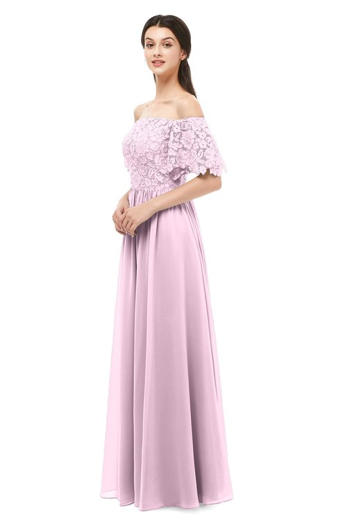 ColsBM Ingrid Baby Pink Bridesmaid Dresses Half Backless Glamorous A-line Strapless Short Sleeve Pleated