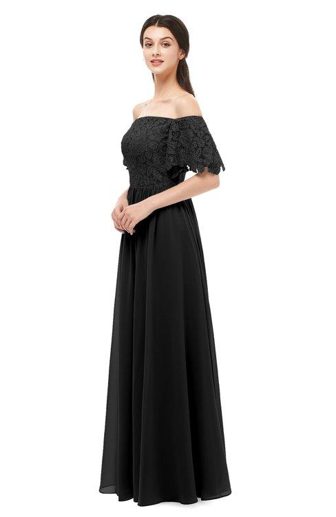ColsBM Ingrid Black Bridesmaid Dresses Half Backless Glamorous A-line Strapless Short Sleeve Pleated