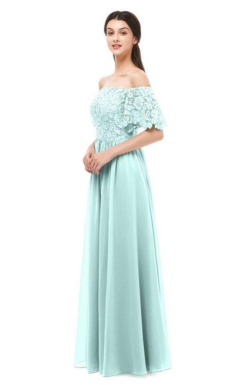 ColsBM Ingrid Blue Glass Bridesmaid Dresses Half Backless Glamorous A-line Strapless Short Sleeve Pleated