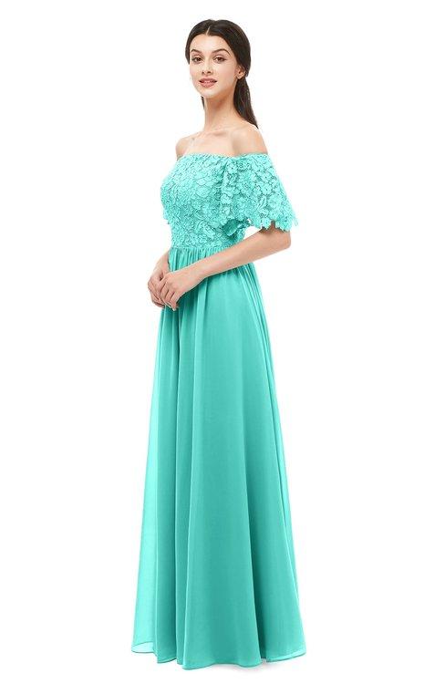 ColsBM Ingrid Blue Turquoise Bridesmaid Dresses Half Backless Glamorous A-line Strapless Short Sleeve Pleated