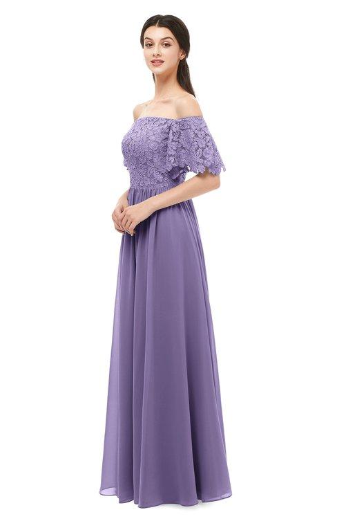 ColsBM Ingrid Chalk Violet Bridesmaid Dresses Half Backless Glamorous A-line Strapless Short Sleeve Pleated