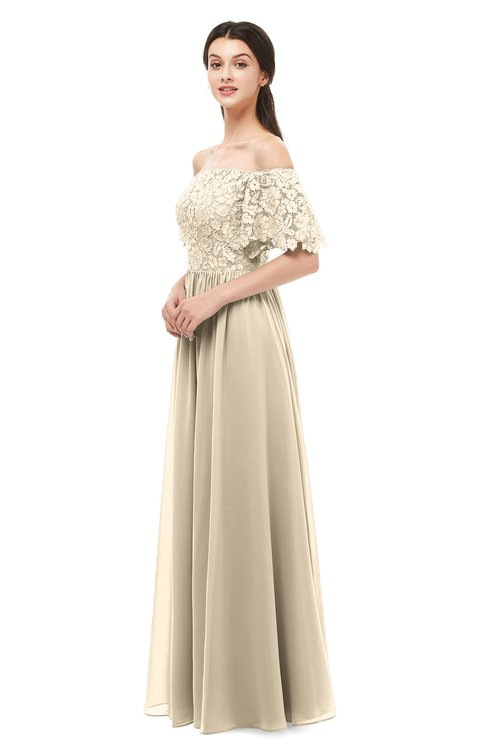 Champagne Bridesmaid Dresses Short Sleeve & Champagne Gowns ...