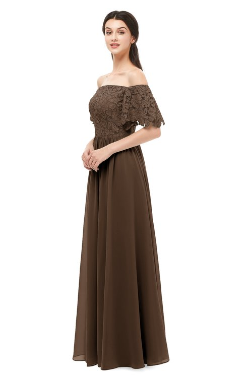 ColsBM Ingrid Chocolate Brown Bridesmaid Dresses Half Backless Glamorous A-line Strapless Short Sleeve Pleated