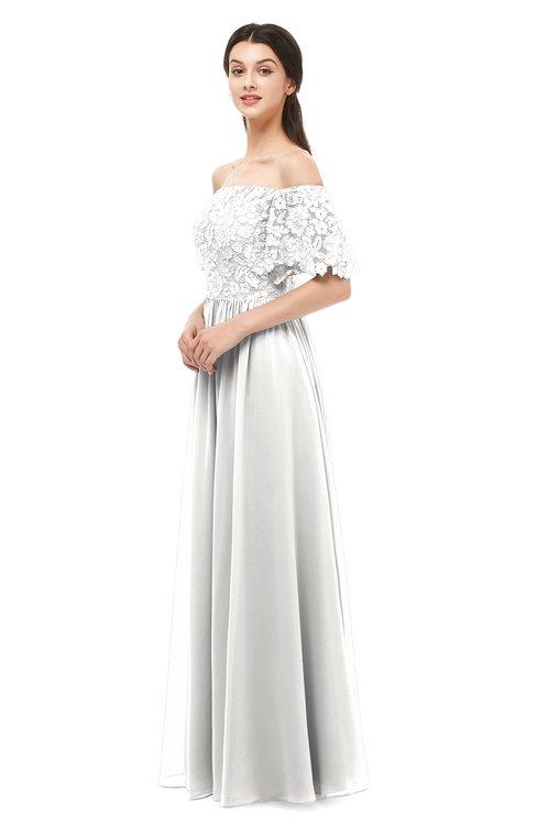 ColsBM Ingrid Cloud White Bridesmaid Dresses Half Backless Glamorous A-line Strapless Short Sleeve Pleated