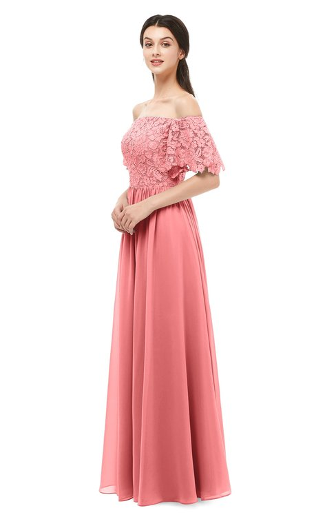 ColsBM Ingrid Coral Bridesmaid Dresses Half Backless Glamorous A-line Strapless Short Sleeve Pleated