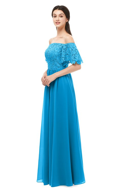 ColsBM Ingrid Cornflower Blue Bridesmaid Dresses Half Backless Glamorous A-line Strapless Short Sleeve Pleated