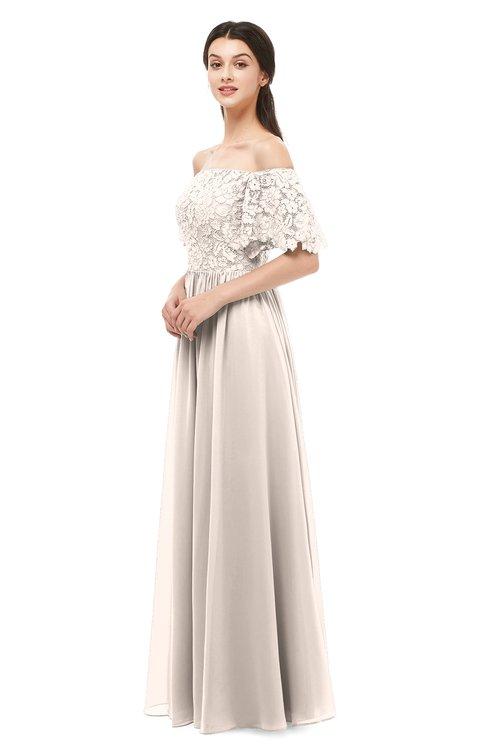 ColsBM Ingrid Cream Pink Bridesmaid Dresses Half Backless Glamorous A-line Strapless Short Sleeve Pleated