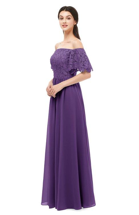 ColsBM Ingrid Dark Purple Bridesmaid Dresses Half Backless Glamorous A-line Strapless Short Sleeve Pleated
