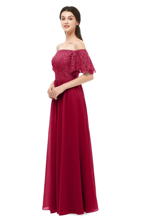 ColsBM Ingrid Dark Red Bridesmaid Dresses Half Backless Glamorous A-line Strapless Short Sleeve Pleated