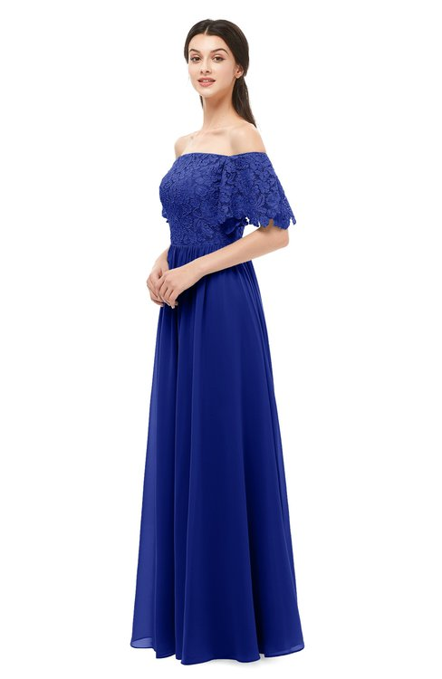 ColsBM Ingrid Electric Blue Bridesmaid Dresses Half Backless Glamorous A-line Strapless Short Sleeve Pleated