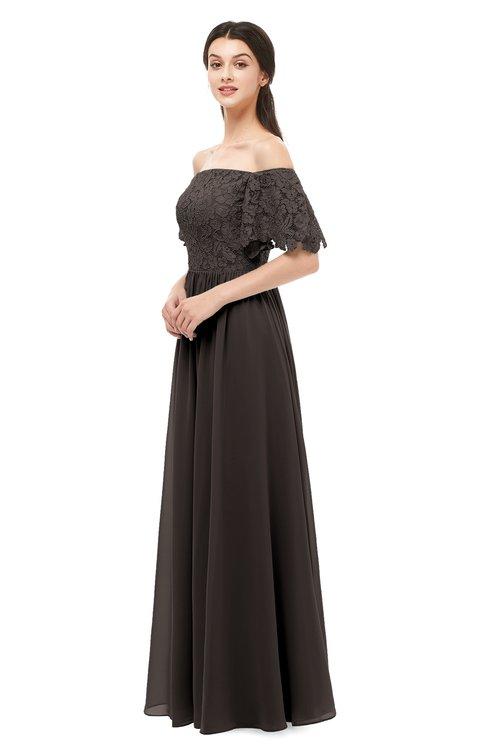 ColsBM Ingrid Fudge Brown Bridesmaid Dresses Half Backless Glamorous A-line Strapless Short Sleeve Pleated