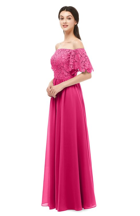 ColsBM Ingrid Fuschia Bridesmaid Dresses Half Backless Glamorous A-line Strapless Short Sleeve Pleated
