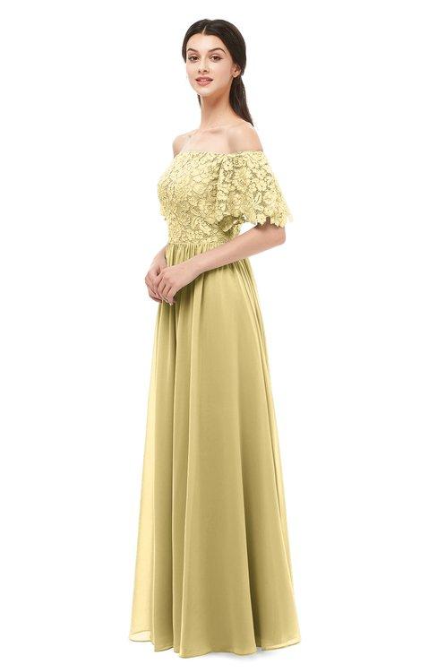 ColsBM Ingrid Gold Bridesmaid Dresses Half Backless Glamorous A-line Strapless Short Sleeve Pleated
